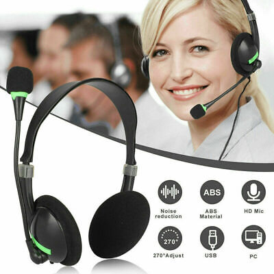 NEW USB Headphones With Microphone Noise Cancelling Headset For Skype Laptop HOT • 8.59£