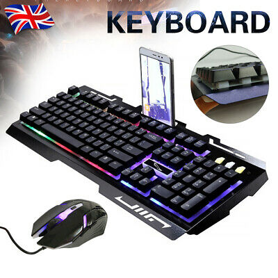 Pro Gaming Keyboard And Mouse Set Rainbow LED Wired USB For PC Laptop PS4 Xbox • 15.79£
