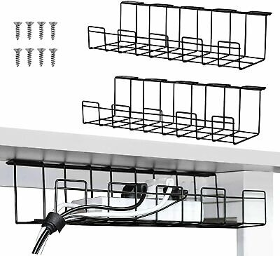 2 Packs Cable Management Tray, 40cm Under Desk Cable Organizer For Wire • 20.99£