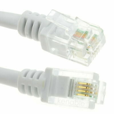 20m ADSL 2+ High Speed Broadband Modem Cable RJ11 To RJ11 WHITE • 6.97£