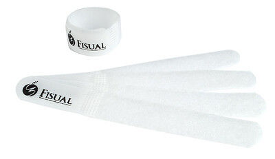 Fisual Chunky Reuseable Hook & Loop Cable Ties - White - 10 Pack • 2.99£