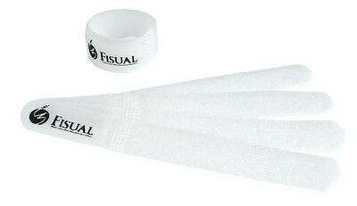 Fisual Chunky Reusable Hook & Loop Cable Ties - White - 100 Pack • 15.99£