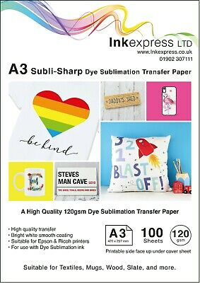 120gsm A3 Dye Sublimation Paper 100 Sheets Ideal For Mug Or T-shirts • 14.95£