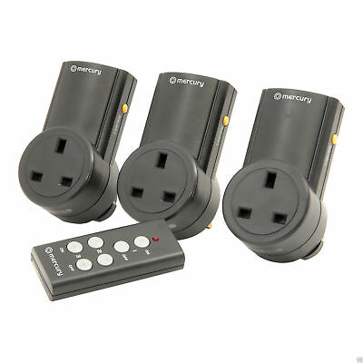 Remote Control Mains Socket Energy Saving Mains Power Adapter Set Of 3 • 22.66£