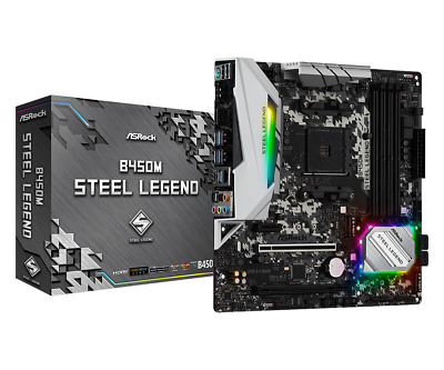 ASRock B450M Steel Legend MATX Motherboard For AMD AM4 CPUs • 95.02£