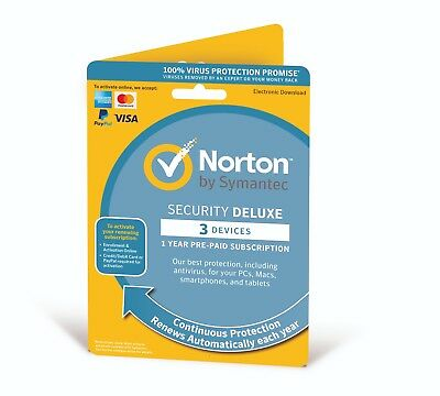 Norton Internet Security Deluxe 2020 3 Multi Devices 1 Yr Fast Delivery By Email • 12.45£