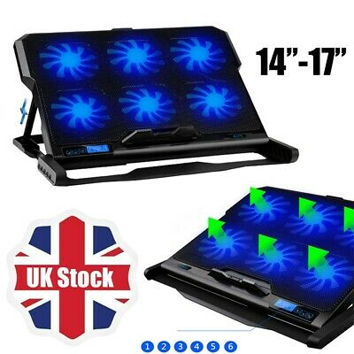 Usb Power Laptop Notebook Cooling Pad 6 Fans Blue Light For Ps3 Ps4 Xbox 360 One • 19.19£