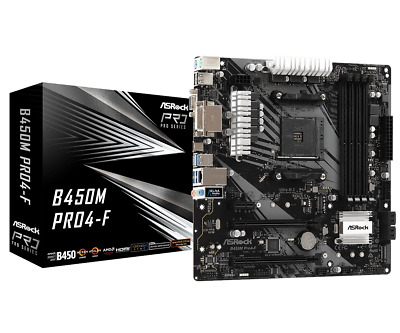 ASRock B450M Pro4-F MATX Motherboard For AMD AM4 CPUs • 75.14£