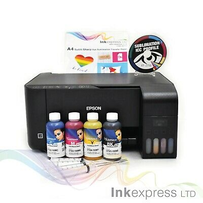 A4 Sublimation Printer Bundle: EPSON ET-2710 + 4 X 100ml Ink + Paper - None OEM • 209£