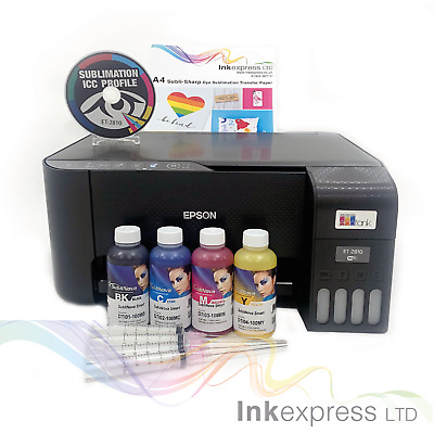 A4 Sublimation Printer Bundle: EPSON ET-2710 + 4 X 100ml Ink + Paper - None OEM • 259£