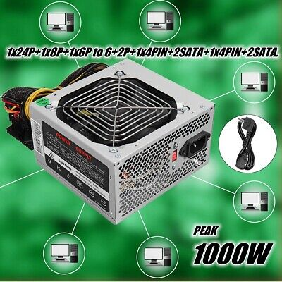 1000W PC Power Supply Computer Gaming PSU PFC SATA ATX 24-PIN Quiet Fan 140mm • 46.62£