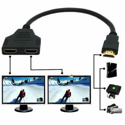1080P 1 To 2 Way Splitter Adapter Cable HDMI Male To Twin HDMI Female For HD TV • 3.98£