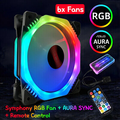 ☆ 6X PC Computer Case RGB LED 120MM Cooling Fan Cooler Radiator Music AURA SYNC • 32.88£