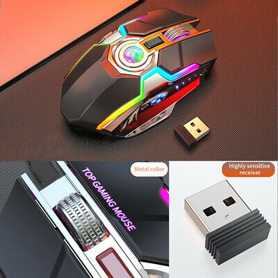 Wireless Mouse Gaming Led Laser Usb Optical Game Rechargable Silent Laptop • 13.59£