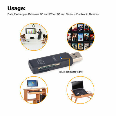 2 In 1 USB 3.0 Memory Card Reader For SD/Micro TF SD/SDHC/SDXC Up To 128GB 079GT • 3.48£