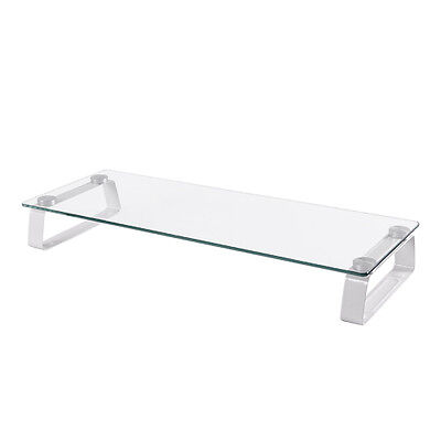 *LOOK* Universal Glass Monitor Stand Riser For PC IMac Studio Keeps Desk Tidy • 17.50£