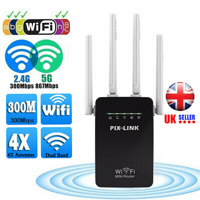 WiFi Extender Plug And Play Booster Internet Wireless Range Router Network Black • 15.68£