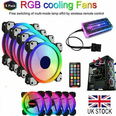 5 X RGB Game 120mm Desktop PC Cooling Case Fans With Control 12cm Cooler New • 23.89£