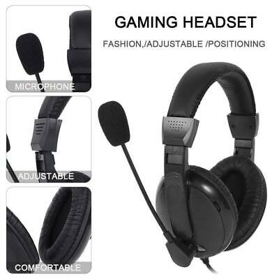 Stereo Gaming Headset Chat Mic Black 3.5mm Volume Control For PC PS4 • 12.99£