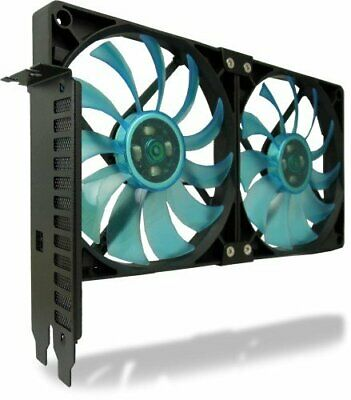 Gelid Solutions PCI Slot Fan Holder - 2 X Slim 120mm UV Blue Fan - High Airflow • 22.72£