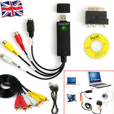 USB 2.0 Convert VHS VCR DV Camcorder To DVD Via PC USB Video Capture Adapter UK • 8.98£
