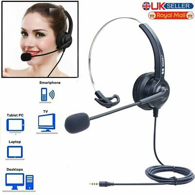 UK Mute Call Center Headset Noise Cancelling Call Center W/ Microphone Box 3.5mm • 14.79£