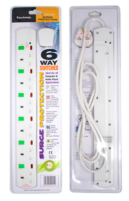 TC416/BP Tacima 6 Way Switched Surge Protector 2Mtrs Lead|4500Amps|Status Light| • 20.99£