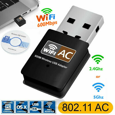600 Mbps 2.4-5ghz USB Dual Band Wireless Adapter WiFi Dongle 802.11 AC Laptop PC • 2.20£