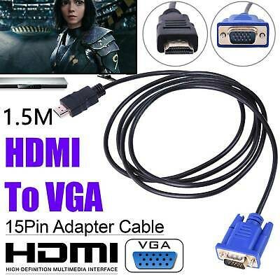 HDMI To VGA Cables HD-15 D-SUB Video Adapter HDMI Cable For PC HDTV Monitor • 5.99£