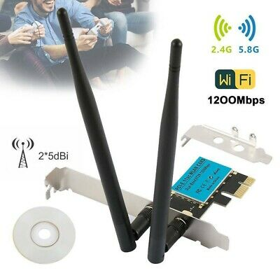 1200Mbps PCI-E Wireless WiFi Card Dual Band Network Adapter 2.4G/5G For Desktop • 14.99£