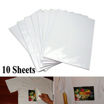 10Pcs A4 Heat Transfer Paper For T-Shirt Painting Iron-On Paper Light Fabric ~ • 3.19£