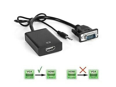 VGA Male To HDMI Female 1080P Output HDTV Audio Video Cable Converter Adapter • 5.99£