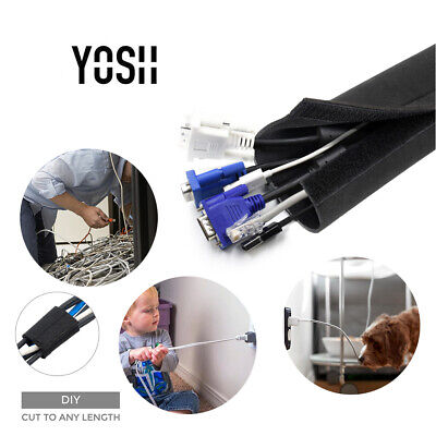 YOSH Cable Management Sleeves Wraps Wire 203 CM Neoprene Cable Tidy For PC/TV • 6.99£
