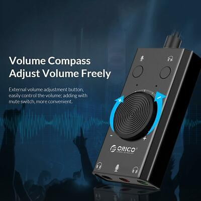ORICO SC2 External USB Sound Card Volume Adjustable Audio Card Adapter PC • 8.40£