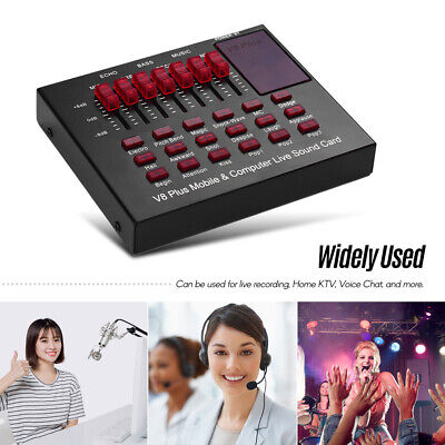 V8 External Sound Card USB Interface Audio Live Broadcast Microphone Mixer • 16.86£
