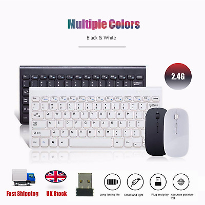 USB 2.4GHZ Wireless Slim Keyboard Mouse Optical Mice Combo Sets For PC Laptop UK • 10.94£