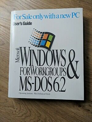 Microsoft Windows For Workgroups MS-DOS 6.2 Users Guide Book • 2.89£