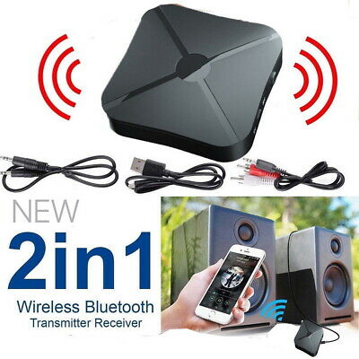 2 In 1 Bluetooth Wireless Audio Transmitter Receiver Adapter HiFi Music RCA AUX • 5.69£