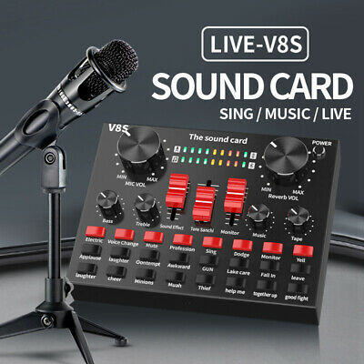 V8S External Sound Card USB Interface Audio Live Broadcast Microphone Mixer 2020 • 19.99£