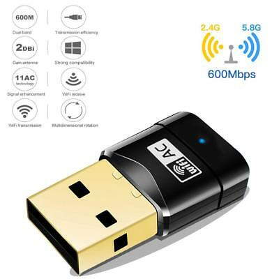 600Mbps WiFi Dongle Wireless USB Dual Band Adapter 802.11 AC 2.4-5ghz Laptop PC • 6.99£
