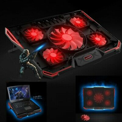 6 FANS Laptop Cooler Mat Stand Tilt LED For 14  15.4  15.6  17  Inch Cooling Pad • 17.59£