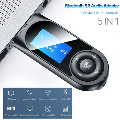 5 In1 Bluetooth 5.0 Audio Transmitter Receiver LCD USB Adapter For TV PC Car AUX • 6.39£