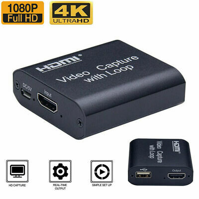 4K HD 1080P 60fps HDMI Video Capture Card USB 2.0 Mic Game Record Live Streaming • 13.59£