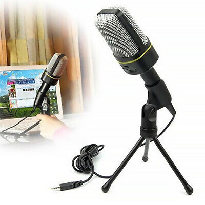 Microphone With Mini Stand Tripod Audio Recording For Computer PC Phone Desktop • 10.99£
