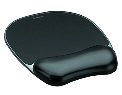 Fellowes Crystals Gel Mouse Mat With Wrist Support, Black • 13.10£