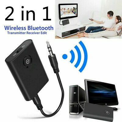 Bluetooth 5.0 Transmitter Receiver 2 IN 1 Wireless Audio 3.5mm Jack Aux Adapter • 6.99£