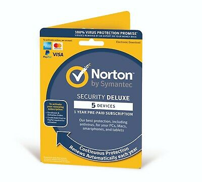Norton Internet Security Deluxe 2020 (5 Devices/1 Year) Antivirus PC/Mac Emailed • 15.69£