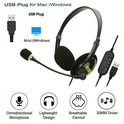 USB Noise Cancelling Headset Headphones With Microphone PC Laptop Call Office UK • 9.99£
