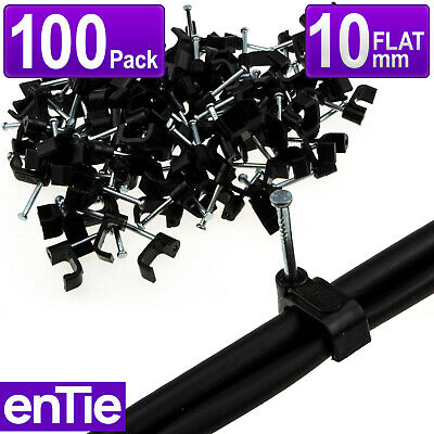 EnTie FLAT Black 10mm Cable Clips RG59 Shotgun Twin Coax Cable CCTV [100 Pack] • 2.47£