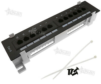 CAT6 12 Port RJ45 110 Network Mini Patch Panel With Rack Wall Mount Bracket • 15.97£